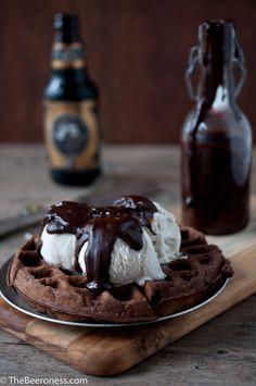 Chocolate Stout Waffle Sundae with Chocolate Stout Fudge Sauce