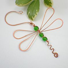 Dragonfly ornament copper green pick your by SueRunyonDesigns
