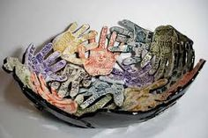 Image result for bowl made from decorated glazed handprints