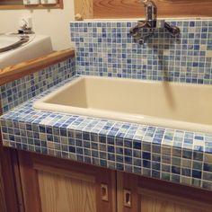 … Washroom, Corner Bathtub, Mosaic Tiles, Sink, Interior, House, Inspiration, Home Decor, Mosaic Pieces