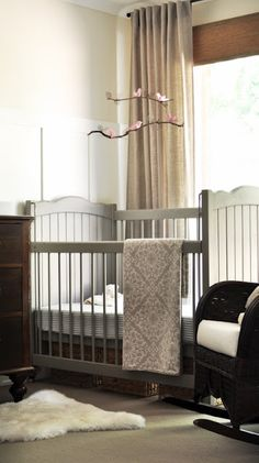 The Painted Hive: Beautiful baby girl's nursery design with ivory walls paint color and board and batten . Nursery Room, Girl Nursery, Baby Room, Girl Room, Kids Bedroom, Budget Nursery, Nursery Ideas, Grey Crib, Grey Bed