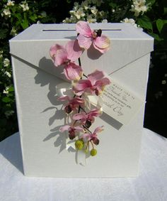 Post Box - ivory with orchid corsage - Click Image to Close