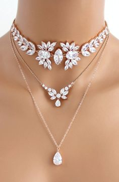 Rose Gold layered necklace Bridal necklace Bridal jewelry Rose gold choker necklace Statement necklace Swarovski Wedding necklace - Rose Gold layered necklace Bridal necklace Bridal jewelry Rose image 2 The Effective Pictures We Of - Rose Gold Layered Necklace, Rose Gold Choker Necklace, Diamond Necklace Simple, Bridal Necklace, Wedding Jewelry, Diamond Necklaces, Gold Bracelets, Diamond Earrings, Wedding Rings