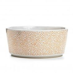 WAGGO Spectacular Polka Dot Pet Bowl Rose Gold  --- The Waggo Pet Bowls are made in heavy  100% ceramic. Dishwasher Safe and FDA Approved.  Size Small: 5 x 13 cm Size Medium:7 x 17 cm Size Large:8 x 21 cm