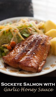 Not sure about pan frying salmon? This easy garlic honey sockeye salmon recipe will convince you that grilling isn't the only way to go! Sockeye Salmon Recipes, Wild Salmon Recipe, Healthy Salmon Recipes, Seafood Recipes, Vegetarian Recipes, Dinner Recipes, Fish Recipes, Classic Meatloaf Recipe, Bbc Good Food Recipes
