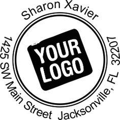 Round custom logo w/ surrounding text address stamp