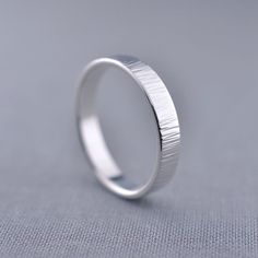 Birch Textured 4mm Silver Ring | Recycled SIlver Textured Band | Alternative Wedding Ring