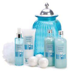 coco-vanilla bath luxury set   Description   Sweeten your spa experience with this colorful bath luxury set in its custom keepsake jar! Cheerful coconut vanilla scent brightens 2.3 oz. bath fizzers, 14.8 oz. bath salts, 13.5 fl. oz. bubble bath, 6.7 fl. oz. body splash, 7.4 fl. oz. silky body lotion and exfoliating puff, for an indulgent at-home pampering experience.