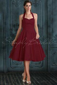#85222 - Tea Length A-Line Halter Sleeveless Satin Dress- Simply Bridal ***gold satin***
