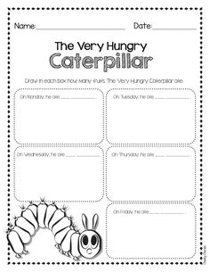 The Very Hungry Caterpillar - Drawing Activity Easy activity to help your students' creativity after reading Eric Carle's books. Writing Activities, Math Resources, Reading Resources, School Resources, The Very Hungry Caterpillar Activities, Hungry Caterpillar Classroom, Second Grade Freebies, Kindergarten Freebies, Teacher Freebies