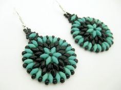 uperduo Hoop Earrings Beadwork Turquoise Black