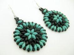 uperduo Hoop Earrings Beadwork Turquoise Black