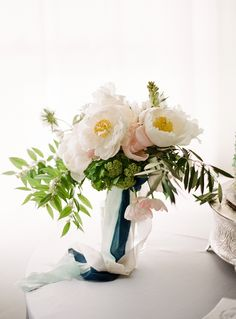 romantic peony, tulip, tuberose and viburnum bouquet by Cloth of Gold