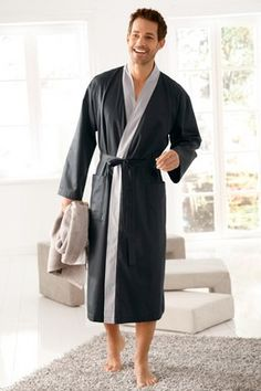 morgenmantel aus feiner baumwolle kimono gef ttert blau von bugatti herren. Black Bedroom Furniture Sets. Home Design Ideas