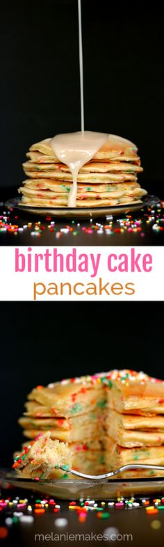 Start celebrating your birthday first thing in the morning by devouring a stack of these Birthday Cake Pancakes. Pancakes created using a cake mix and studded with sprinkles are drizzled with a vanilla sugar glaze and topped with even more sprinkles to create a super special start to your day.