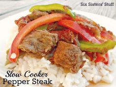Slow Cooker Pepper Steak- quick, easy, and simple ingredients. My kind of meal! SixSistersStuff.com #slowcooker #crockpot #steak