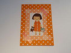DIY oranje bolletjes kaartje met mooi prentje van meisje met beer en cupcake'je