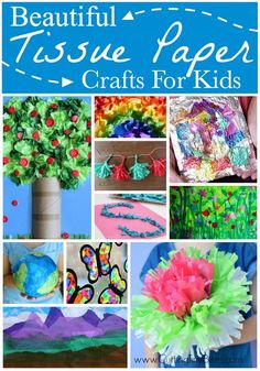 Over 30 Beautiful Tissue Paper Crafts For Kids. Crepe Paper Crafts, Paper Plate Crafts, Paper Crafts For Kids, Easy Crafts For Kids, Toddler Crafts, Fun Crafts, Art For Kids, Toddler Art, Big Kids