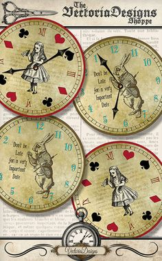 Printable Alice in Wonderland Clocks. With and without clock hands so you can make your own working clocks if you like. Great to take your next Alice in Wonderland Tea Party decor to the next level.