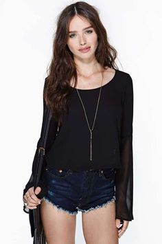 Black sheer #top featuring black #lace at back and bell sleeves