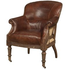Grosvenor Shakespeare Chair, vintage cigar leather - Home Trends & Design  29 x 35 x 37