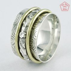 Sz 7 US, TWO TONE PRETTY DESIGN 925 STERLING SILVER SPINNER RING, R4417 #SilvexImagesIndiaPvtLtd #Spinner #AllOccasions
