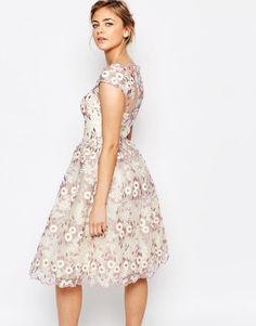 Chi Chi London | Chi Chi London Premium Floral Lace Midi Dress with Bardot Neck at ASOS