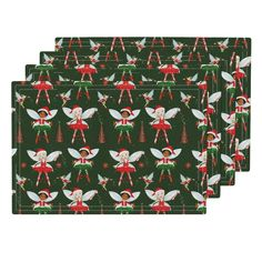 Lamona Cloth Placemats featuring Festive Fairies by floramoon_designs   Roostery…