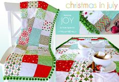 Christmas in July with Moda: Patchwork Pom Pom Table Runner in Joy | Sew4Home