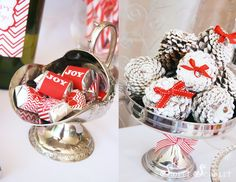 Let it snow Christmas party via www.karaspartyideas.com. Love the frosted pinecones!