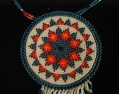 Cherokee Indian Beadwork Necklace  - This reminds me of the medallion and necklace I made in elementary school.
