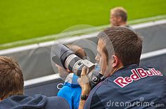 Salzburg Red Bulls - Sturm Graz. Austrian football league. Salzburg fan at the tribune