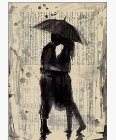 kus in de regen papierkunst klassieke home decor retro poster op maat( 50x76cm) muursticker gratis verzending