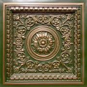 """Decorative Vinyl Ceiling Tile Model #VC02 Patina Copper. Size: 23 3/4"""" X 23 3/4"""" Installation type: Drop in Price: 10.99 USD http://www.talissadecor.com/catalog/drop-in-ceiling-tiles/antique-tin-drop-tile"""