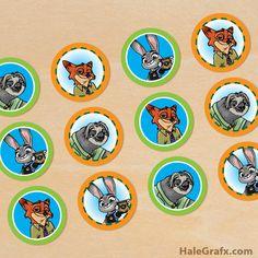 FREE Printable Zootopia Cupcake Toppers
