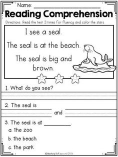 FREE Reading Comprehension Passages SET 1 - Beginning Readers