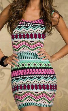 Geometric Pattern Beam Waist Packet Buttock Stylish Dress   dresslily.com