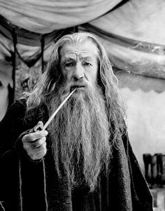 """""""Now playing in some countries. Everywhere else, SOON! Meanwhile, Gandalf smokes and worries, as always."""" - Sir Ian McKellen"""