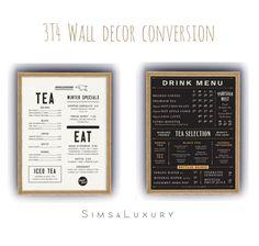 3T4 Wall menu decor at Sims4 Luxury via Sims 4 Updates