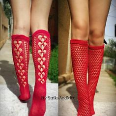Red Summer socks with hearts Knitting pattern by Gorica Pavlovic