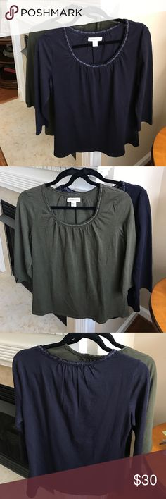 🌻SALE 2 Coldwater Creek Starburst Neckline Tees Cute Coldwater Creek Tops with Stardust Neckline. One is Navy/NWT and other is Olive Green/only been worn once. 100% Cotton . Size S (8). Coldwater Creek Tops