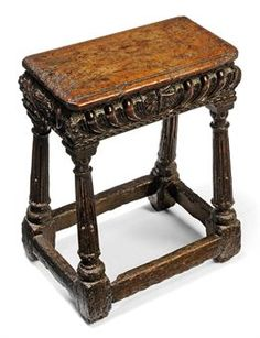 AN ELIZABETHAN WALNUT JOINED STOOL LATE 16TH CENTURY With moulded top and deep gadrooned friezes centred with a leaf motif, on stop-fluted slightly-splayed legs headed with square and gadrooned capitals, joined by square stretchers 22 in. (56 cm.) high; 17½ in. (44 cm.) wide; 9¾ in. (25 cm.) deep