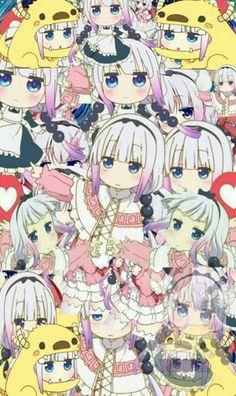 Can you count how many Kanna in the picture? Anime Collage, Anime Art, Chibi, Mega Anime, Kobayashi San Chi No Maid Dragon, Kanna Kamui, Aztec Culture, Miss Kobayashi's Dragon Maid, Monster Musume