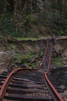 A section of the abandoned railway of Tillamook in Tillamook, Oregon - photo via daiseye