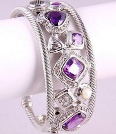 Yurman Inspired Mosaic Cuff Bracelet Amethyst Purple CZ: