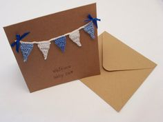 New Baby Card: New Baby Boy or New Baby Girl Card; Crochet Card; Mini Crochet Bunting