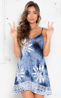 Free In Spirit Dress in Navy Tie Dye $52. Relaxed and graphic. Be the bohemain girl that you always wanted in this simple dress. www.showpo.com #iloveshowpo #showpo
