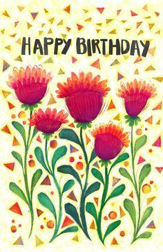 Items similar to Happy Birthday Confetti flower Card on Etsy Happy Birthday card- etsy shop- McKenzie Rose Design- Flower Confetti – Celebration- Greeting Card Birthday 40, Happy Birthday Art, Happy Birthday Wishes Cards, Birthday Blessings, Happy Birthday Images, Birthday Greeting Cards, Happy B Day, Motif Floral, Zentangle