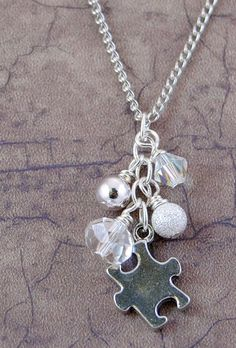 Sparkly Silver Autism Awareness Necklace with by AutismLoveHope, $16.00