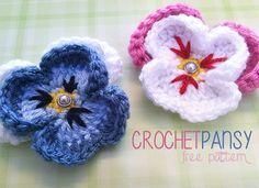 Pansy Crochet Flower Motif By Rebecca - Free Crochet Pattern - (littlemonkeyscrochet)
